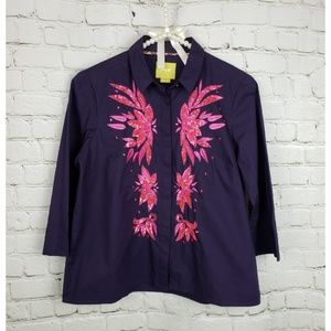 Anthro Maeve Navy Floral Button Down